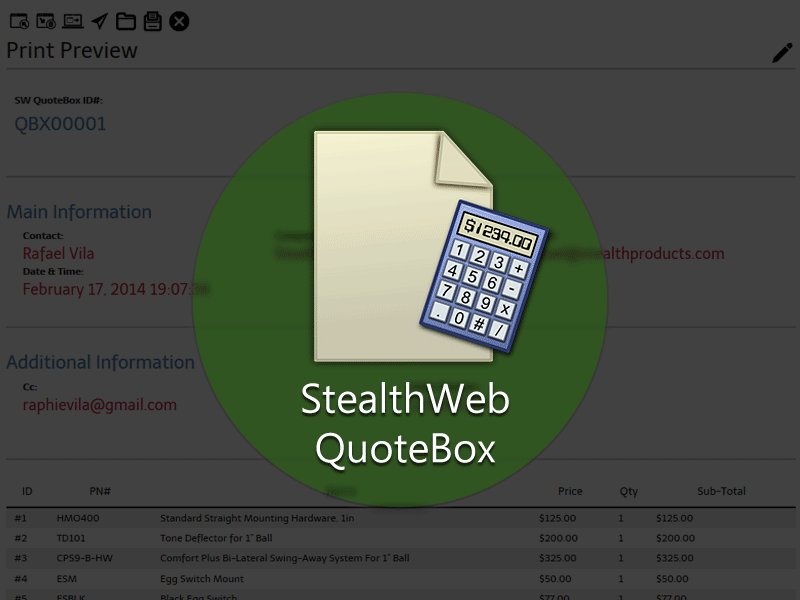 Start your quote on-line with SW QuoteBox