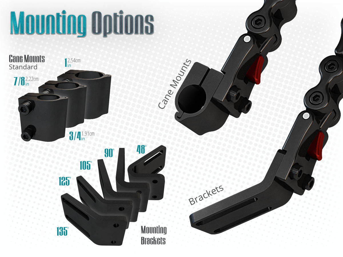 Various mounting option to mount on most frames in the market