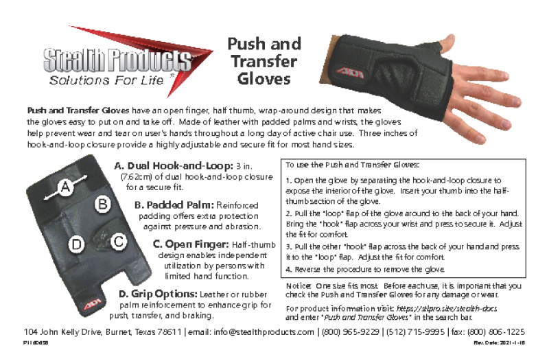 P116D658 ADI PUSH AND TRANSFER GLOVES