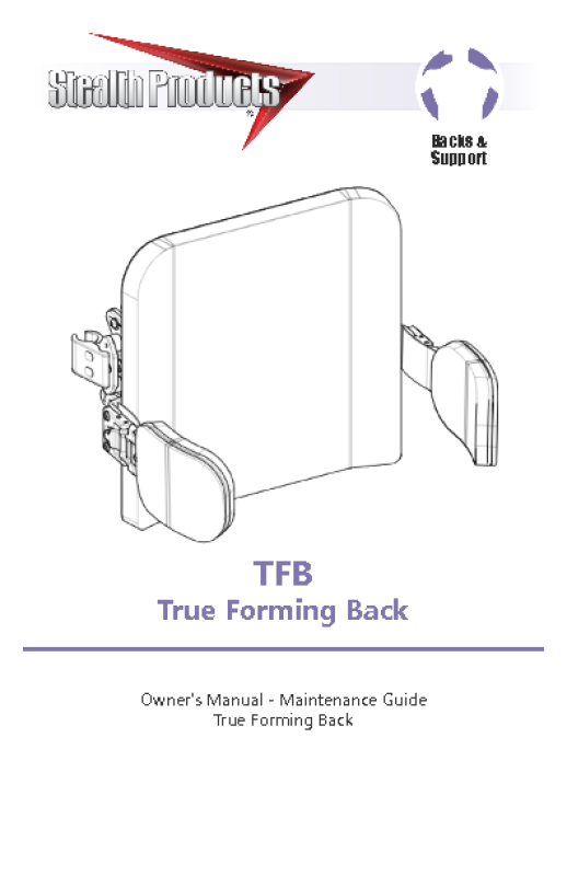 TRUE FORMING BACK OWNERS MANUAL